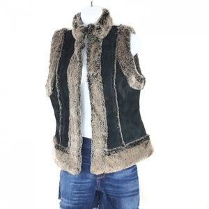 Live a Little Leather and Faux Fur Vest M